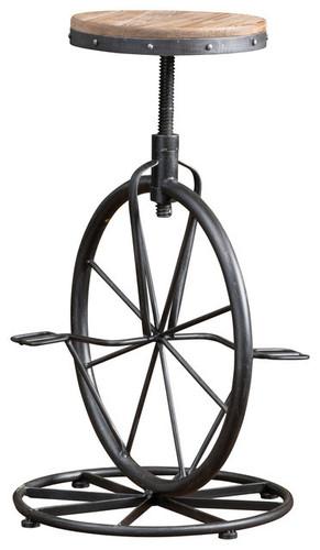 Charles Bicycle Wheel Adjustable Bar Stool