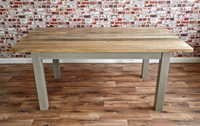 Chunky Hardwood Slab Style Dining Table Six Seater