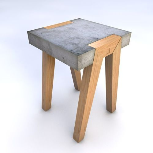 Square Contrete Top Stool