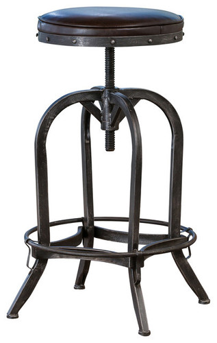 Dempsey Swivel Iron Bar Stool, Brown Leather indus