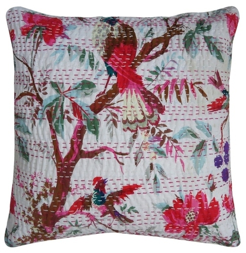 Bird Print Cotton Cushion Cover