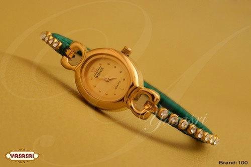 Green Threaded Stone Designer Watch