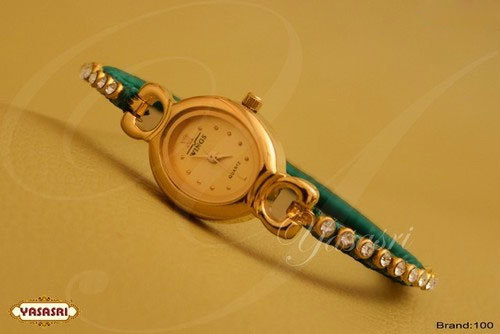 Green Threaded Stone Designer Watch