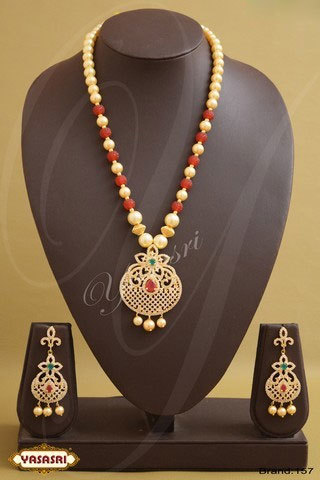 Mothi And Red Color Crystal Fancy Mala