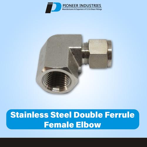 Stainless Steel Double Ferrule Female Elbow