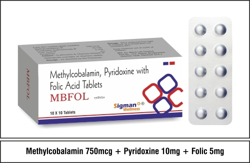 Folic 5mg + Methylcobalamin 750mcg + Pyridoxine 10mg