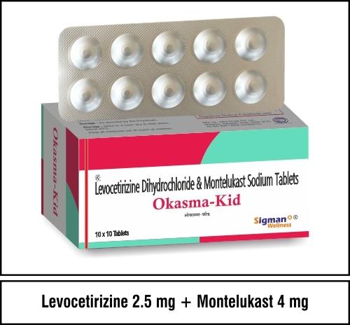 Levocetirizine 2.5mg+Montelukast  4mg