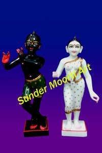 Black Krishna White Radha Statue