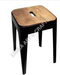 Metal Tolix Stool With Wooden Seat