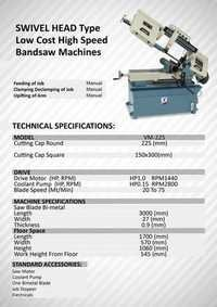 Swivel Head Type Low Cost Hi-Speed Bandsaw Machine