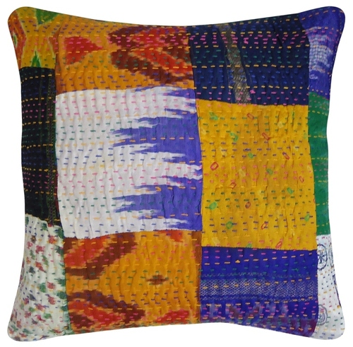 Silk Patola Patch Work Kantha Cushion Cover