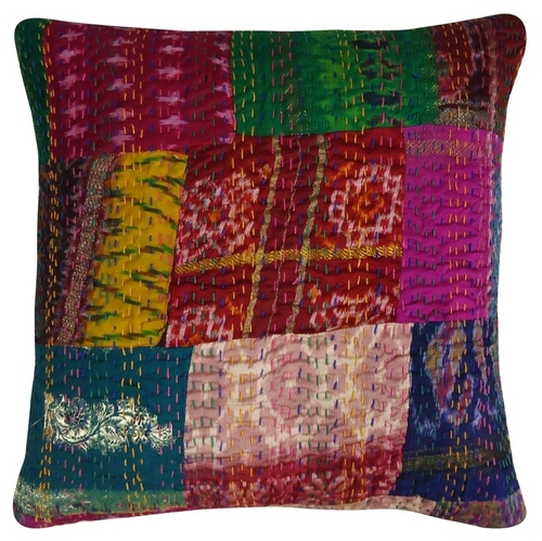 Patola Silk Kantha Cushion Cover