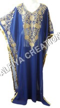 Dubai style fancy thread work navy blue farasha kaftan dress