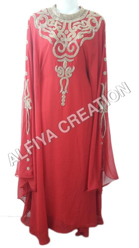 Gorgeous gold crystal work farasha jalabiya dubai dress