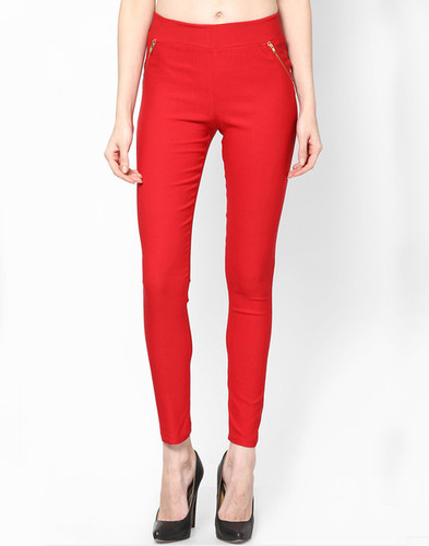 Ladies Jegging Solid Red