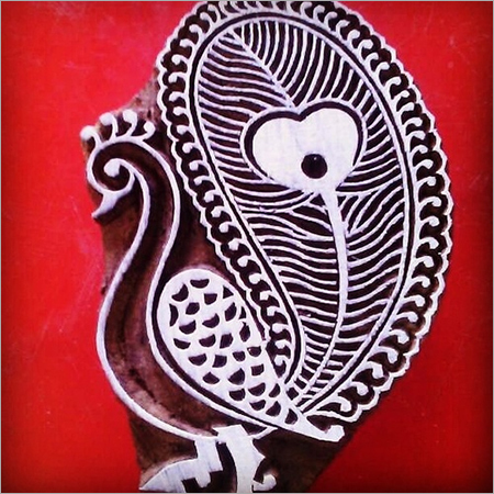 wooden printing stamp peacock design for fabric printing (5 pcs pack)