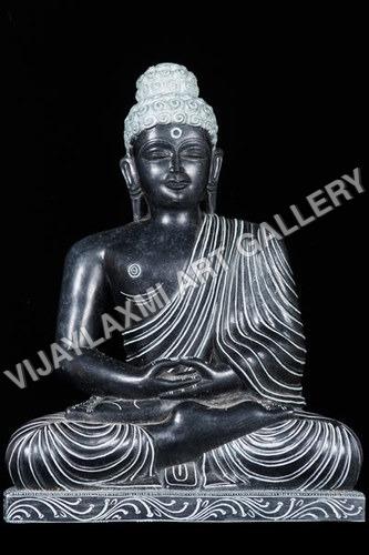 Black Marble Buddha Statue