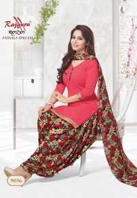 Pink Synthetic Printed With Lace Work Patiala Salwar Suit