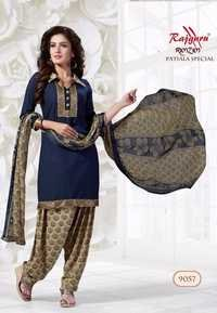 Blue Synthetic Printed With Lace Work Patiala Salwar Suit