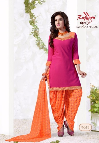 Pink Orange Synthetic Printed With Lace Work Patiala Salwar Suit