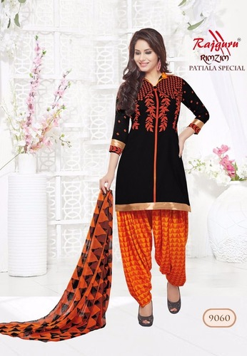 Orange Black Synthetic Printed With Lace Work Patiala Salwar Suit