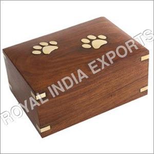 Paw Embossed Wood Urn Box