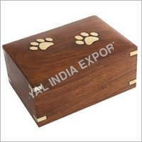 Paw Embossed Wood Urn Box