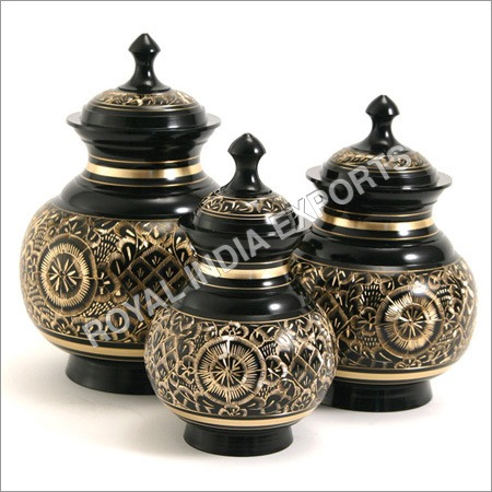 Black Engraved Brass Urn