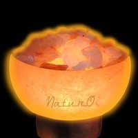 Naturo Rocksalt Firebowl Lamp With Crystals