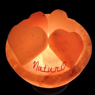 Naturo Rocksalt Firebowl Lamp With Hearts