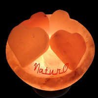 Naturo Rocksalt Firebowl Lamp With Hearts
