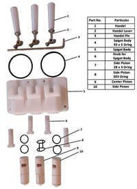 Spigot Body & Piston Assembly Parts For Twin Flavour Softy Machine Parts