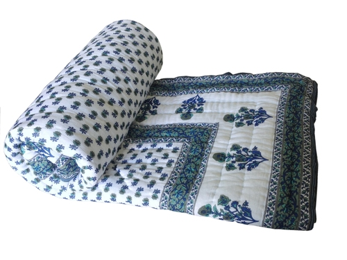 Blue Printed Double Bed Quilt