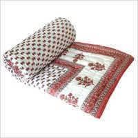 Red Printed Double Bed Quilt