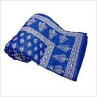 Print Cotton Double Bed Quilt - Blue