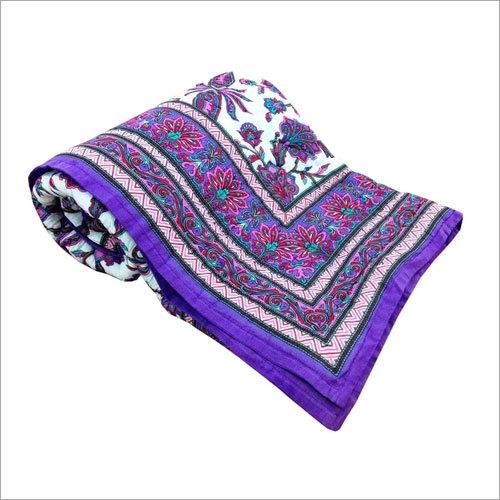 Purple Floral Double Bed Quilt