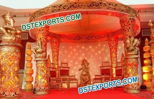 Filmy Style Fiber Carved Wedding mandap