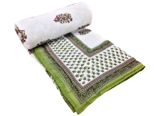 Green Printed Double Bed Quilt