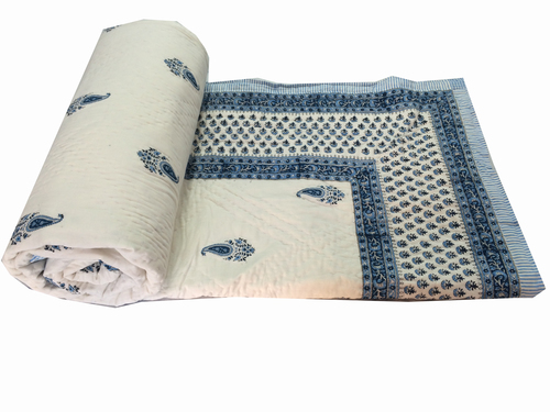 Hand Block Printed Cotton Double Bed Razai Quilt