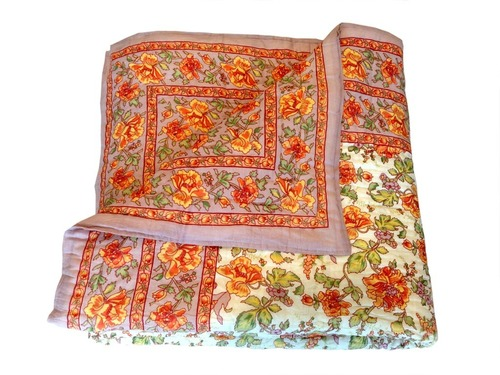 Orange Printed Double Bed Quilt