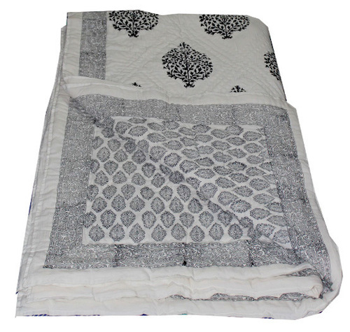 Beige Printed Double Bed Quilt