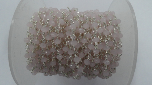 Rose Quartz Colour Hydro Faceted Rosary Bead Chain