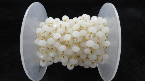 White Hydro Faceted Rosary Beaded Chain
