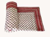 Dark Red Printed Single Bed Quilt
