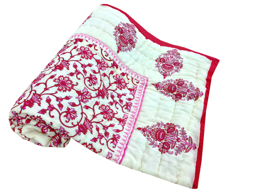 White Colour Printed Single Bed Quilt