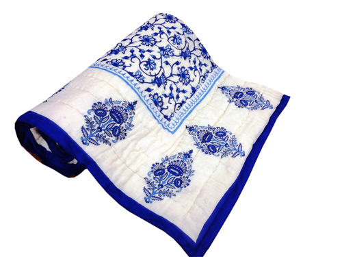 White And Blue Printed Single Bed Quilt