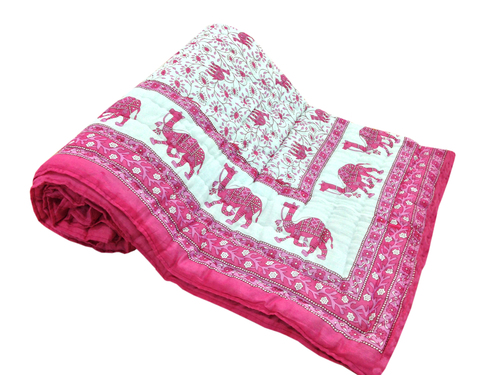 Camel Printed Single Bed Quilt