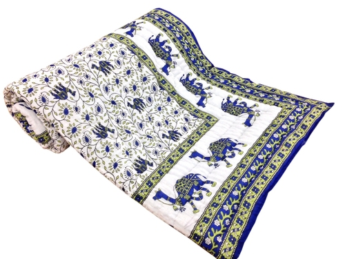 Blue Camel Printed Single Bed Quilt