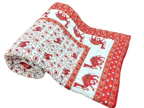 Red Printed Camel Single Bed Quilt
