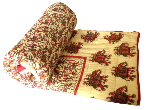 Ethnic Cotton Camel Printed  Single Bed Quilt